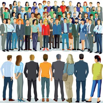 two group of people stand opposite each other, illustration