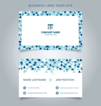 Creative business card and name card template blue color modern with Triangle pattern abstract concept and commercial design. vector graphic illustration