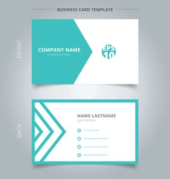 Creative business card and name card template green and white triangle pattern. Abstract concept and commercial design. vector graphic illustration