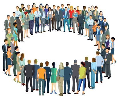 a group of people forms a circle, illustration