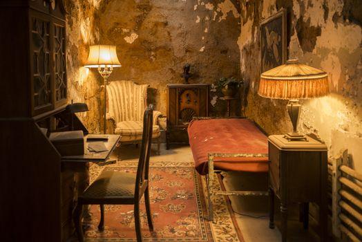 Al Capone cell inside the historic Eastern State Penitentiary in Philadelphia, Pennsylvania