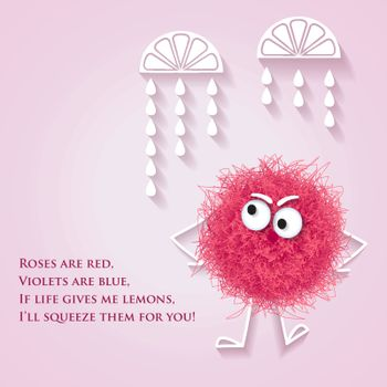 Funny banner with fluffy pink creature and lyrics message