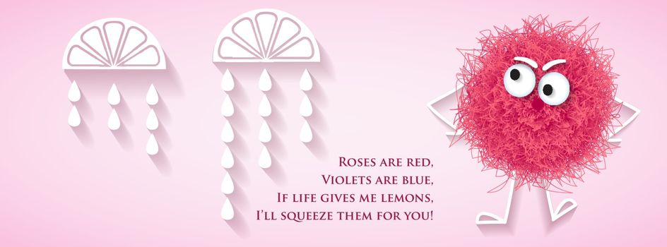 Funny social media  network banner with fluffy pink creature and lyrics message, vector