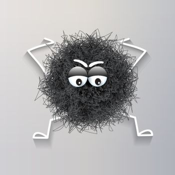 Fluffy cute black spherical creature thinking and stressed