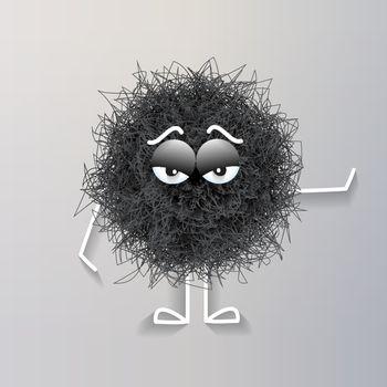 Fluffy cute black spherical creature bored