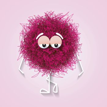 Fluffy cute pink spherical creature thinking and stressed