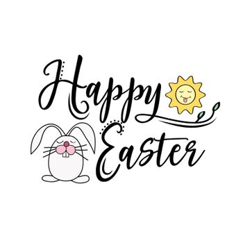 Happy Easter greeting text decorate with sun and bunny