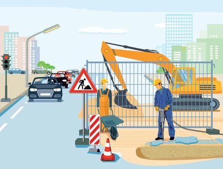 Repair in road construction illustration