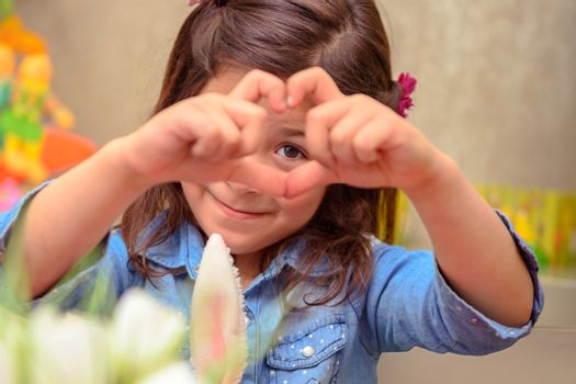 Cute girl showing love