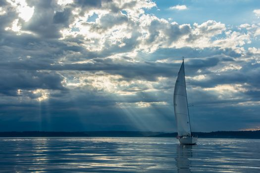 Small sailboat on Seattle's Shilshole Bay