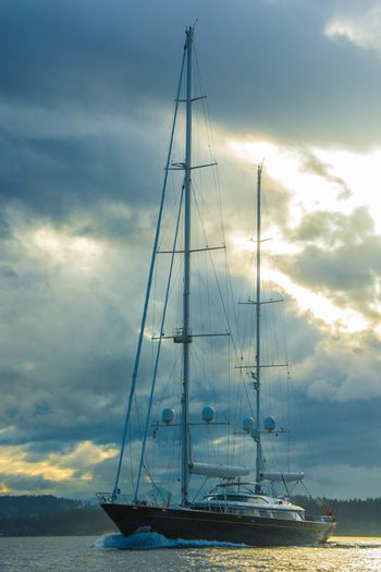 Large Sailing Yacht underway to Seattle.