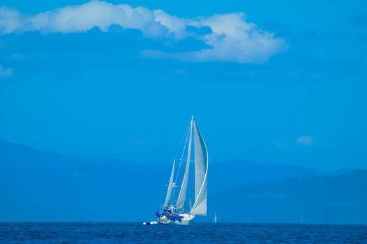 Sailboats Reaching in Straights of Juan Defuca