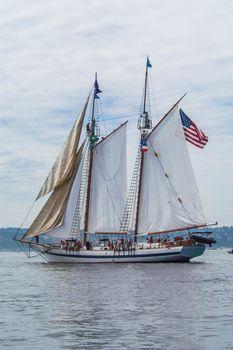 Schooner under sail on Commencement Bay
