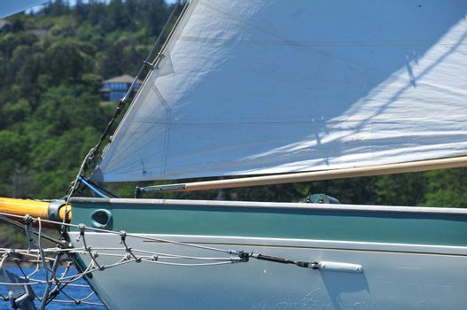 Bow of Wooden Schooner with Bow Sprit