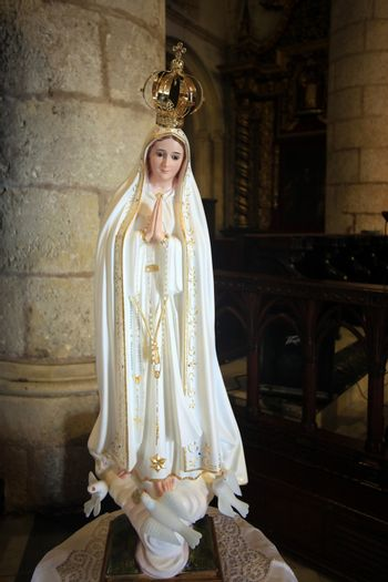Virgin Mary statue in old cathedral of Santo Domingo. Dominican Republic