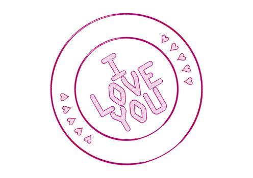 Stamp I Love You. 3D illustration.
