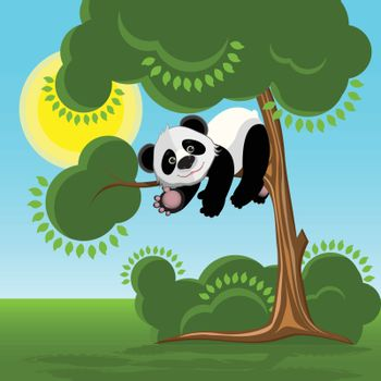 Illustration Panda on the Tree on the Background of the Blue Sky
