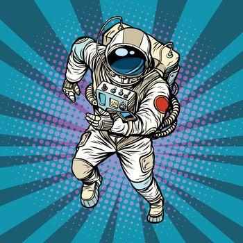 astronaut runs, the hero of space