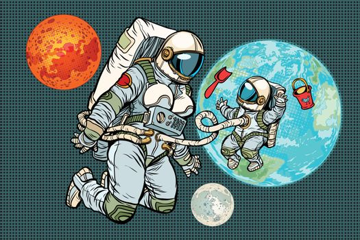 Astronaut mother and child on planet Earth. Humanity and the uni