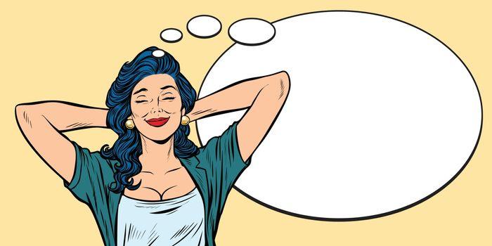 woman dreams, comic bubble background