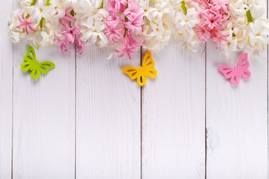 Spring background with colorful butterflies ,hyacinth flowers on white wooden board with copy space