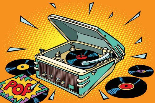 pop music, vinyl records and gramophone