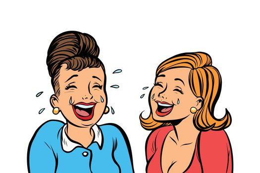 Joyful girlfriends women laugh isolate on white background
