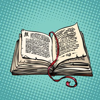 Open old book with text, fairy tale or novel