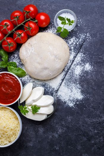 Raw dough for pizza