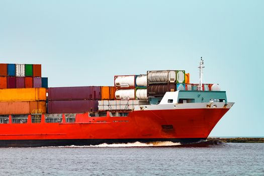 Red container ship. Logistics and production export