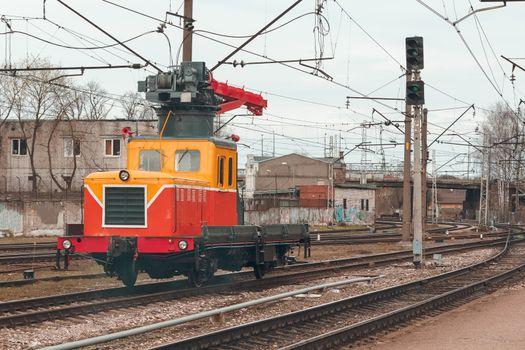 Small industry repair train. Professional transportation equipment