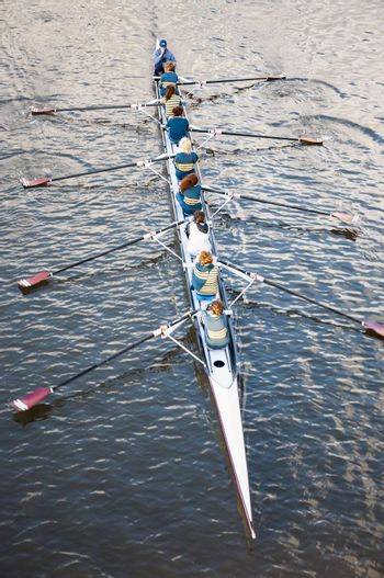 ADELAIDE, AUSTRALIA - AUGUST 5: rowing training on the river downtown on August 5, 2010 in Adelaide, south Australia