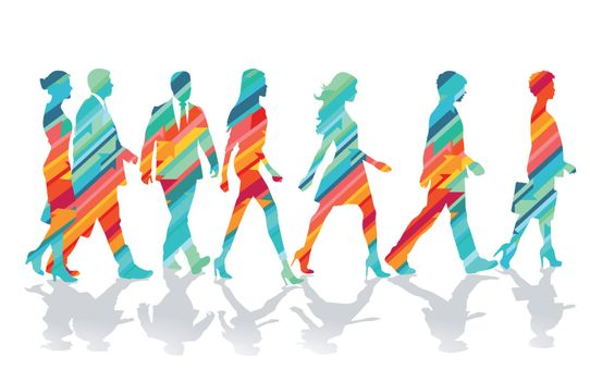 colorful group of people together, illustration
