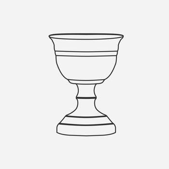 Chalice flat black outline design icon