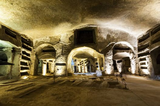 NAPLES, ITALY -MARCH 31, 2012: inside the Catacombs of San Gennaro in the heart of city of Naples, Italy