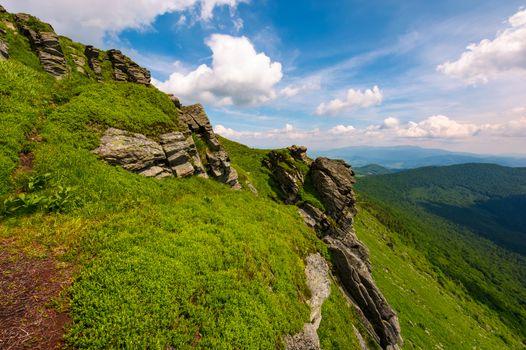 grassy hillside with boulders