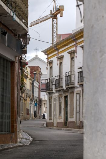 View of the typical streets in Faro city, located in Portugal.