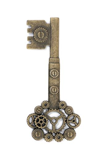 vintage fantasy detailed golden key isolated on a white background.