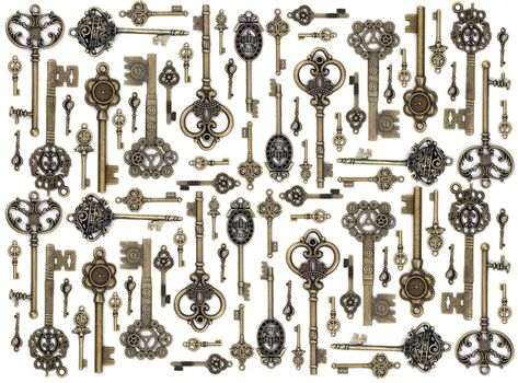 vintage fantasy detailed golden keys collection set isolated on a white background.