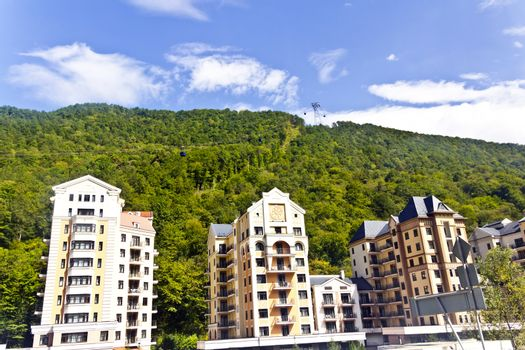 Resort hotel in Russian village of region Sochi Caucasus mountains