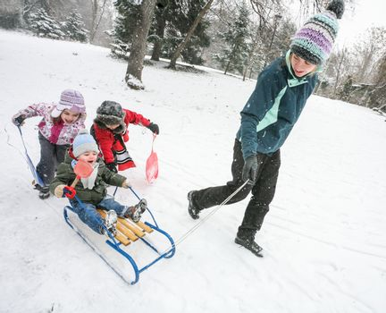 Mother is playing with kids in the snow with sled in cold winter day.