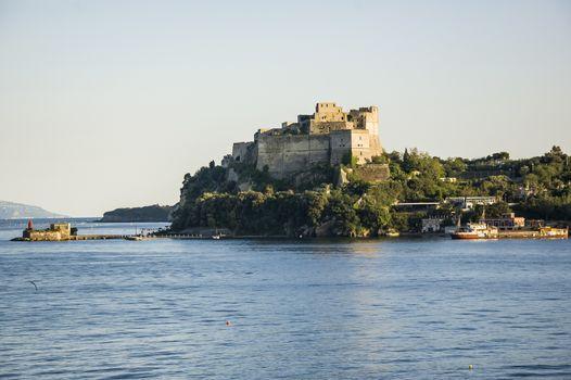 View of the Aragon castle in Baia, Pozzuoli, Naples Italy