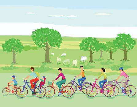 Group of cyclists take a trip