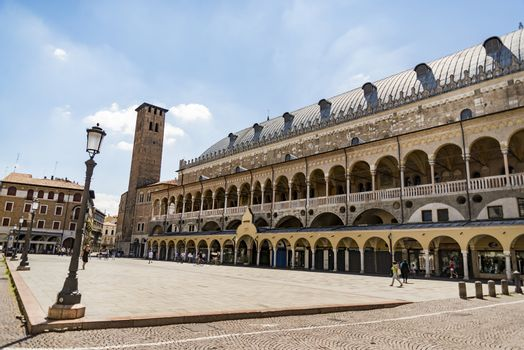 PADUA, ITALY - JULY 2, 2017: The Palazzo della Ragione is old town hall, located on the territory of the city market, between two squares Piazza della Frutta and della Erbe, on July 2, 2017 in Padua.
