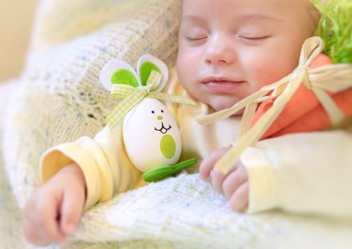 Baby boy with Easter bunny
