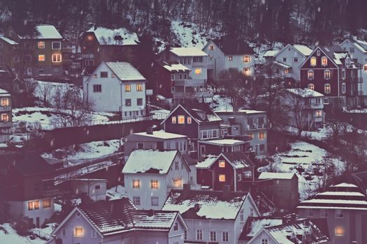 Norway, beautiful city covered with snow