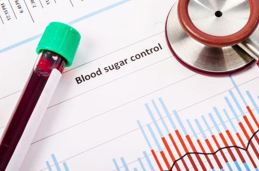 blood tube on blood sugar control chart.