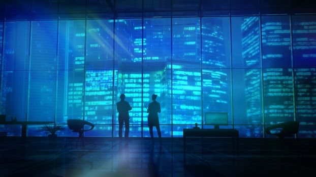 Silhouettes In An Office Building Against Of Skyscrapers
