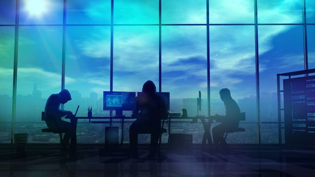 Silhouettes of hackers at work