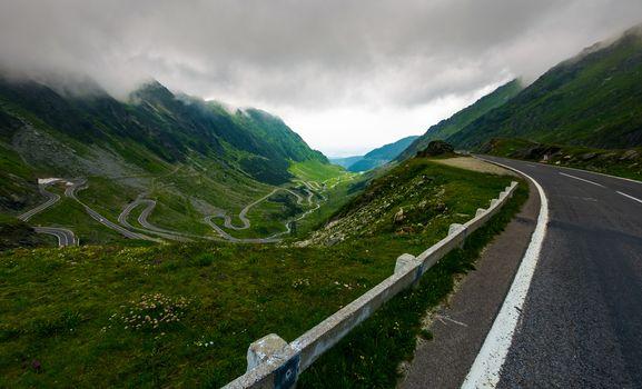 Transfagarasan road in stormy weather